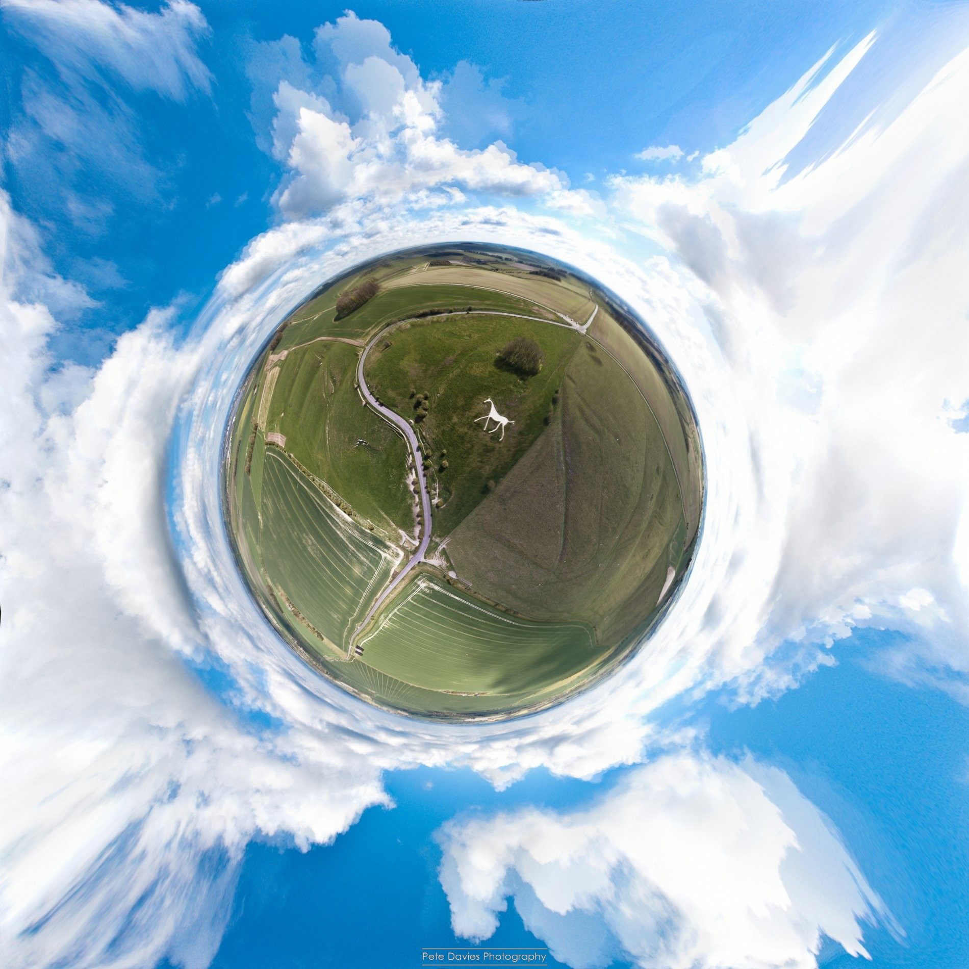 Hackpen White Horse - Tiny Planet